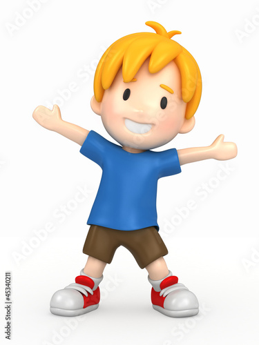 Fotografie, Obraz  3d render of a happy boy