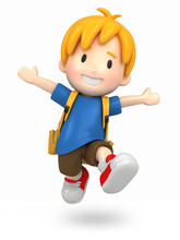 3d Render Of A Jumpi Boy With Backpack