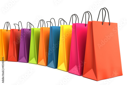 Fotografía  3d render of colorful shopping bags