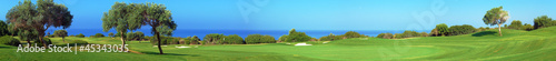 Foto op Plexiglas Golf Panorama of Golf field, sea and olives