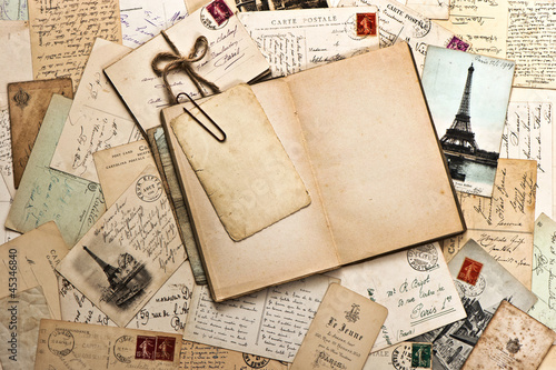 Obraz w ramie old papers, french post cards and open diary book