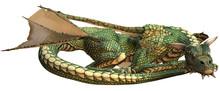 Sleeping Green Fantasy Dragon