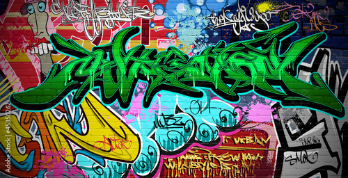 Foto op Canvas Graffiti Graffiti Art Vector Background. Urban wall