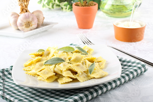 Ravioli with butter and sage Canvas Print