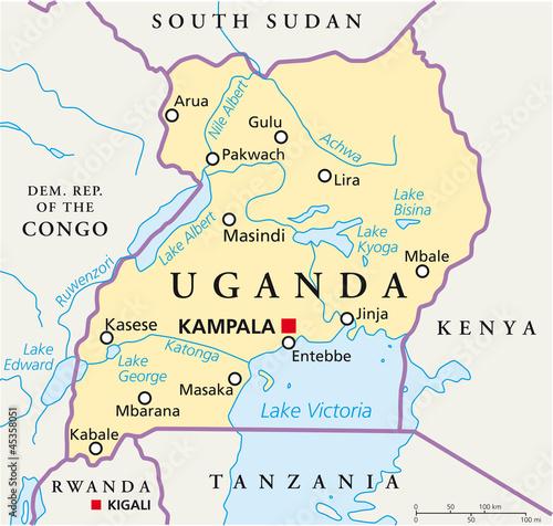 Uganda map (Uganda Landkarte) Wall mural