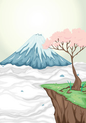fototapeta wulkan i drzewo