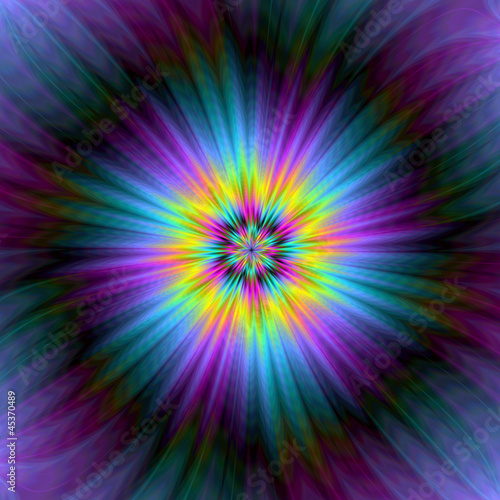 Poster Psychedelic Blue and Yellow Supernova