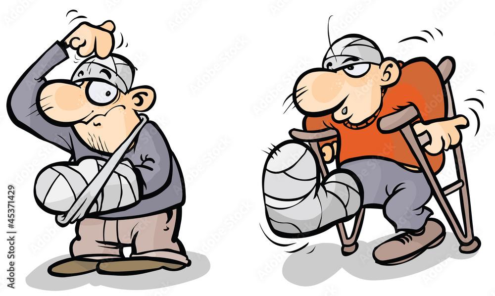 Valokuva  Two Cartoon men in plaster.