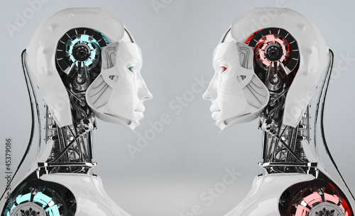 technology background  with robot  android women Canvas Print