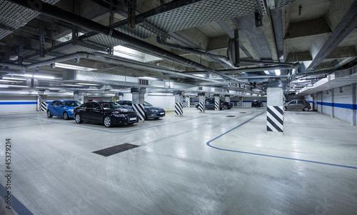 Parking garage, underground interior Fotobehang