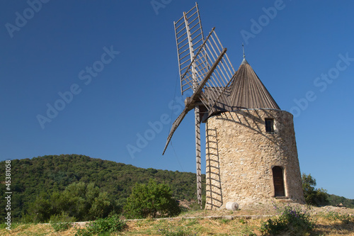 Aluminium Prints Mills Ancient stone windmill.Horizontally.