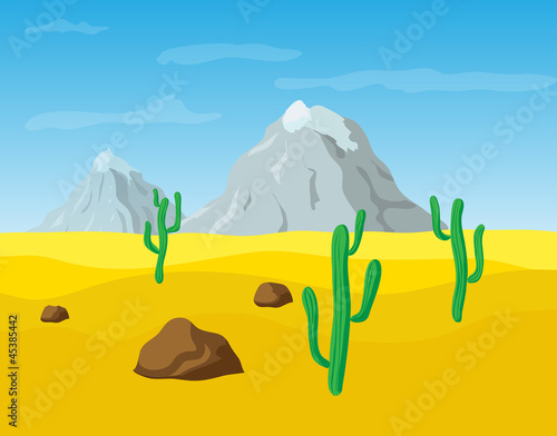 Aluminium Prints Wild West desert sand landscape, vector illustration