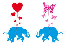 Elephant With Hearts And Butterflies, Vector