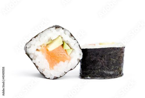 Fototapeta Two sushi maki rolls, isolated on white obraz