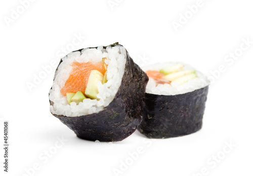 Foto op Aluminium Sushi bar Two sushi fresh maki rolls, isolated on white
