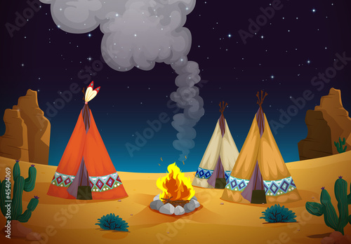 Stickers pour portes Indiens tent house and fire