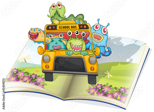 Foto op Aluminium Schepselen monsters, school bus and book