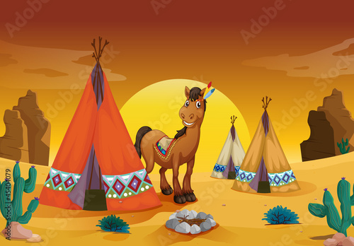 Poster Indiens horse and tent house