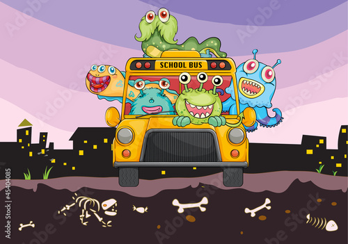 Aluminium Prints Creatures monsters and school bus