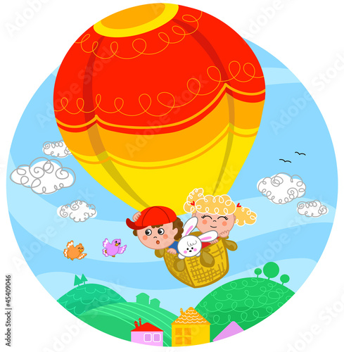 Poster Oiseaux, Abeilles Two cute children and a white bunny flying in hot air balloon.