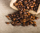Fototapeta Kuchnia - Roasted coffee beans, close-up