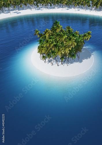 Foto-Schiebegardine Komplettsystem - Die kleine Palmeninsel