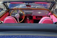 Pink And Blue Vintage Car.