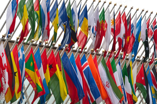 Fotografija  large number of national flags flying