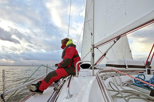 Foto op Aluminium Zeilen Sailing on the IJsselmeer in the Netherlands