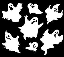 Set Of Halloween Ghosts For Design