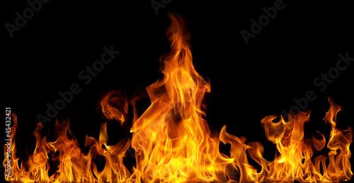 Photo sur Toile Feu, Flamme Fire flames on black background