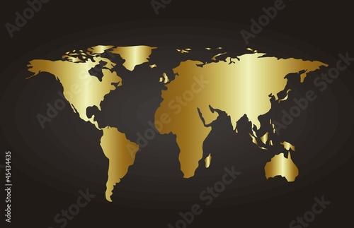 Türaufkleber Weltkarte gold map