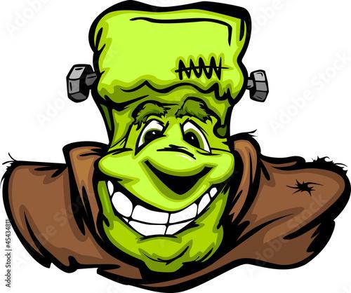 Foto op Canvas Schepselen Happy Frankenstein Halloween Monster Head Cartoon Vector Illustr