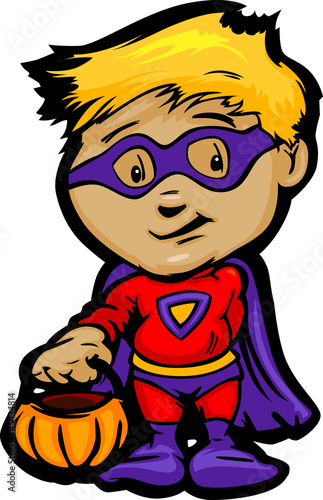 Poster Superheroes Cute Halloween Boy In Super Hero Costume Cartoon Vector Illustra