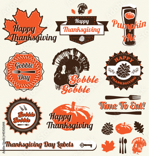 Fotografia, Obraz  Vector Set: Retro Thanksgiving Day Labels and Stickers