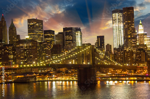 Brooklyn Bridge and Lower Manhattan Skyline at Sunset