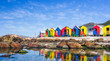 canvas print picture - Colourful Beach Houses in South Africa