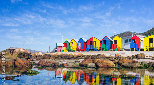 Poster Zuid Afrika Colourful Beach Houses in South Africa
