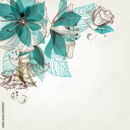 Deurstickers Abstract bloemen Retro flowers vector illustration