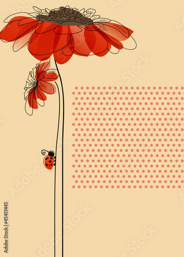 Deurstickers Abstract bloemen Elegant vector card with flowers and cute ladybug