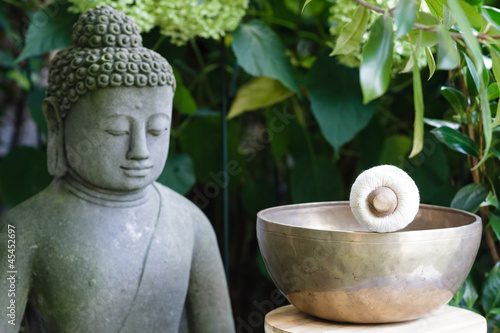Plissee mit Motiv - Klangschale Budda 2