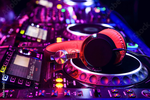 Dj mixer with headphones Canvas Print