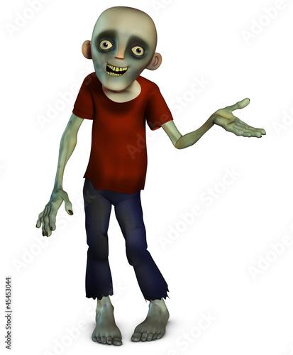 Poster de jardin Doux monstres Halloween zombie