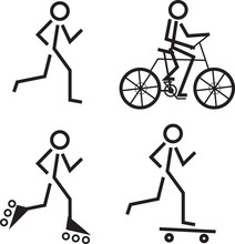 Stick Figures Skating, Running And Biking
