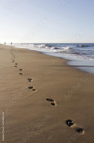 Foto-Leinwand - Die Spur am Strand (von styleuneed)