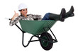 Resting in my wheelbarrow.