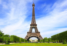 Eiffel Tower In Paris On A Clear Spring Day