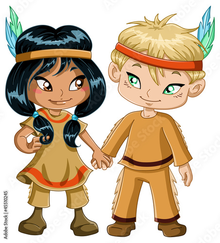 Tuinposter Indiërs Indian Boy And Girl Holding Hands For Thanksgiving