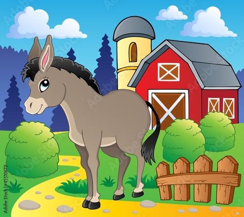 Spoed Foto op Canvas Boerderij Donkey theme image 2