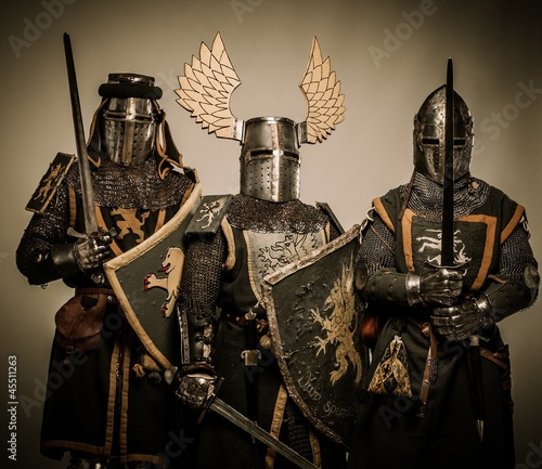 Fotografia Three medieval knights